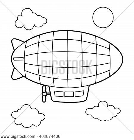 Cute And Funny Coloring Page Of A Zeppelin . Provides Hours Of Coloring Fun For Children. To Color T