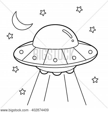 Cute And Funny Coloring Page Of A Ufo. Provides Hours Of Coloring Fun For Children. To Color This Pa