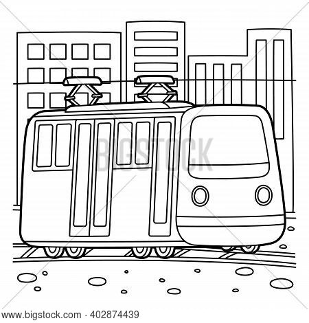 Cute And Funny Coloring Page Of A Tram. Provides Hours Of Coloring Fun For Children. To Color This P