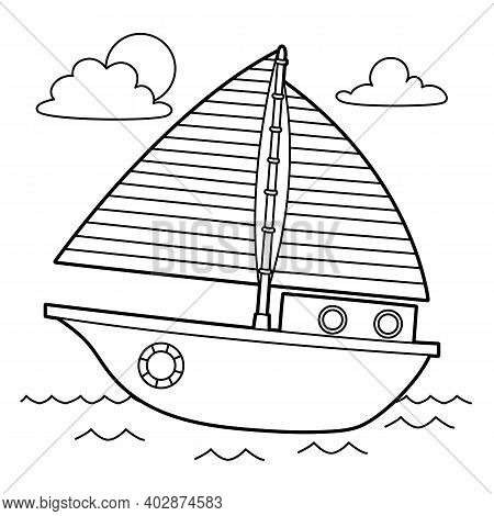 Cute And Funny Coloring Page Of A Sailboat. Provides Hours Of Coloring Fun For Children. To Color Th