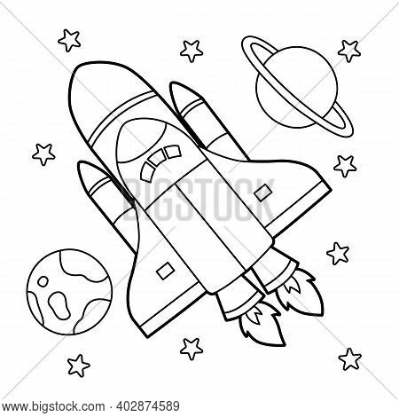 Cute And Funny Coloring Page Of A Rocket. Provides Hours Of Coloring Fun For Children. To Color This