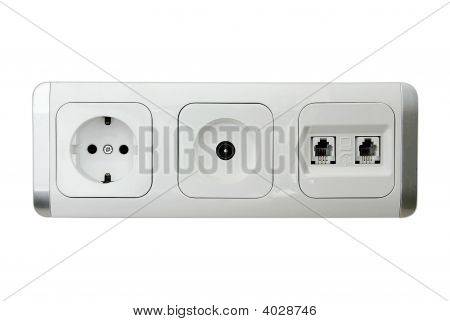 European Power, Tv Aerial, And Telephone And Adsl Socket