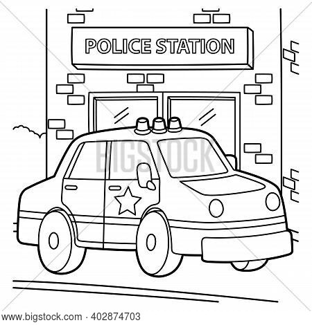 Cute And Funny Coloring Page Of A Police Car. Provides Hours Of Coloring Fun For Children. To Color