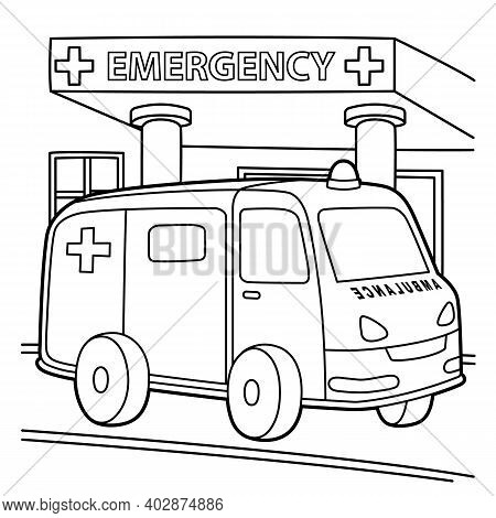 Cute And Funny Coloring Page Of A Ambulance. Provides Hours Of Coloring Fun For Children. To Color T