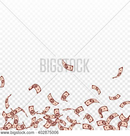 Russian Ruble Notes Falling. Sparse Rub Bills On Transparent Background. Russia Money. Bizarre Vecto