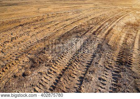 Wheel Tracks On The Soil,  Wheel Tracks On Dirt.
