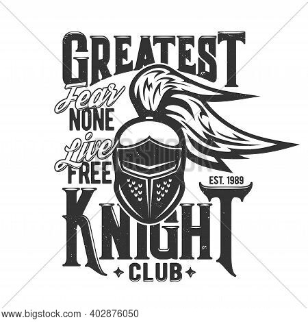 Tshirt Print With Knight Head Vector Mascot. Apparel Mockup With Roman Or Greek Gladiator, Solder Or