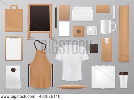 Cooking Identity Vector Mockup. Realistic 3d Blank Tshirt, Chalkboard Menu And Paper Bag, Notepad Wi