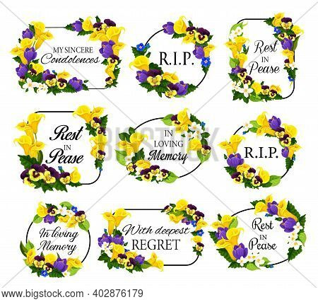 Funerary Frame With Spring Flowers. Funeral Card Decoration With Calla Lily, Narcissus And Pansy, Cr