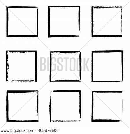 Grunge Frames Vector Set, Black Square Shape Borders With Scratched Rough Edges. Grungy Old Texture,