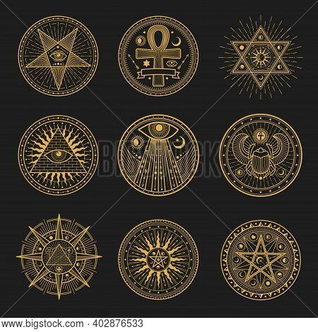 Occult Signs, Occultism, Alchemy And Astrology Symbols And Sacred Religion Mystic Emblems. Vector Ma