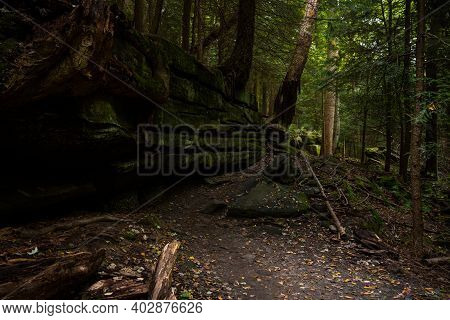 Worn Trail Passes By Mossy Cliff In Cuyahoga Valley National Park