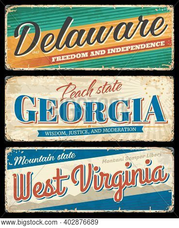 American States, Delaware, Georgia And West Virginia Vintage Vector Banners, Signs For Travel Destin