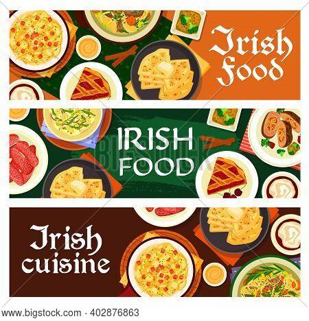 Irish Food Vector Homemade Pork Sausages, Cherry Pie And Vegetable Stuffed Beef, Potato Pancake Farl