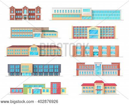 School Building Isolated Icons Of Education Architecture Vector Design. High, Elementary And Prescho