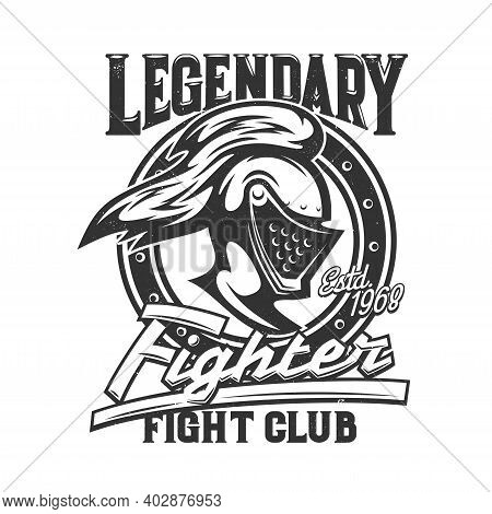 Tshirt Print With Knight Head Side View Vector Mascot For Fight Club Apparel. Medieval Soldier Or Wa