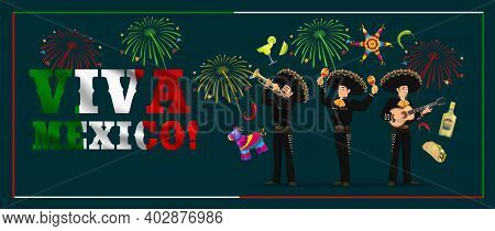 Mexican Holiday Mariachi With Fiesta Party Food, Viva Mexico Vector Banner. Musician Cartoon Charact