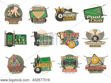 Billiard Sport Isolated Vector Icons With Pool Or Snooker Tables, Balls And Cues, Game Club Racks, L