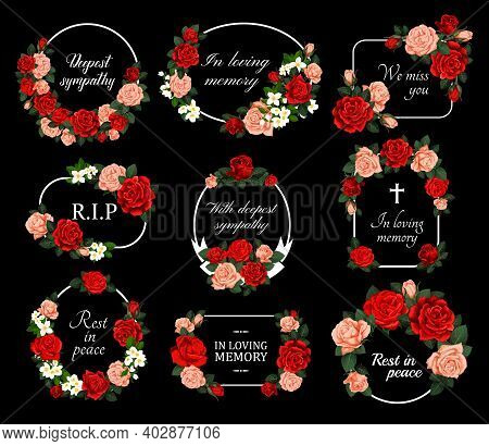 Funeral Vector Cards With Red And Pink Rose Flower Wreaths. Obituary Frames With Engraved Floral Dec