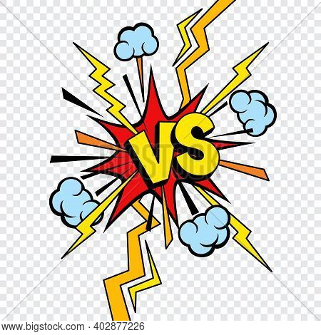 Vs Or Versus Comic Design Isolated On Transparent Background. Vector Comics Book Battle Or Fight Vs