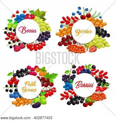 Cartoon Berries Vector Round Frames. Strawberry, White Grape And Blackberry, Raspberry, Cherry, Blac