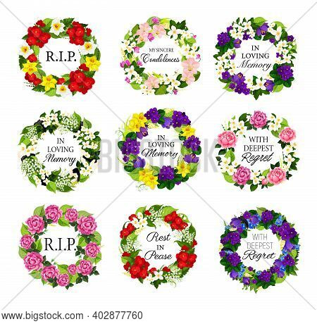 Funerary Flower Wreath With Condolences Set. Funeral Vector Round Floral Frame With Peony, Narcissus