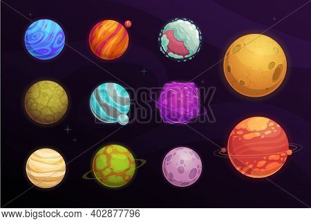 Alien Planets Vector Cartoon Set Of Space Game User Interface, Ui Or Gui Design. Fantasy Galaxy Univ