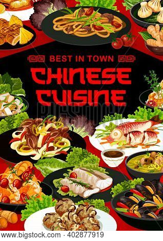 Chinese Cuisine Vector Meals Cod With Ginger, Chow Mein And Cashew Chicken With Cantonese Steamed Pe