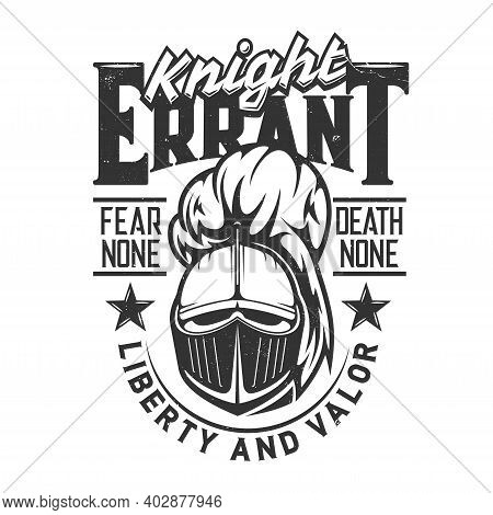 Tshirt Print With Knight Head Vector Mascot For Apparel Design, Roman Or Greek Soldier, Medieval War