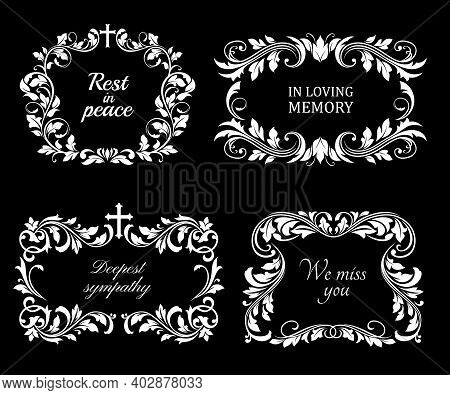 Funeral Vector Frames, Isolated Wreaths Of Floral Design With Crosses, Leaves And Flourishes. Mourni
