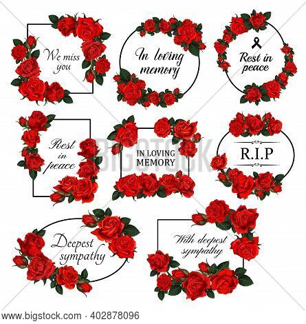 Funereal Floral Borders With Red Roses. Mourning Card Decor With Roses Flowers, Leaves And Buds Engr