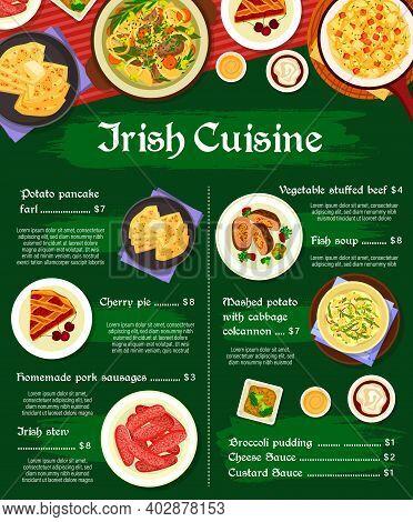 Irish Cuisine Vector Cherry Pie, Vegetable Stuffed Beef And Broccoli Pudding. Fish Soup, Irish Stew