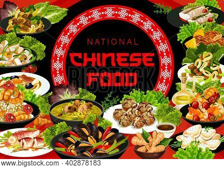 Chinese Cuisine Vector Meals Steamed Shrimps With Jasmine Sauce, Noodles With Shrimp And Pork. Cod W
