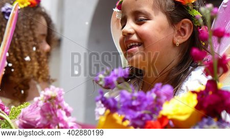 Cuenca, Ecuador-february 22, 2020: Annual Carnival Parade In Cuenca City. Little Cute Girl  Has Fun