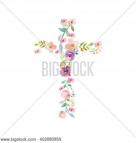 Easter Green Spring Cross Of Jesus In My Heart Concept. Collage From Springs Plants Branches And Flo