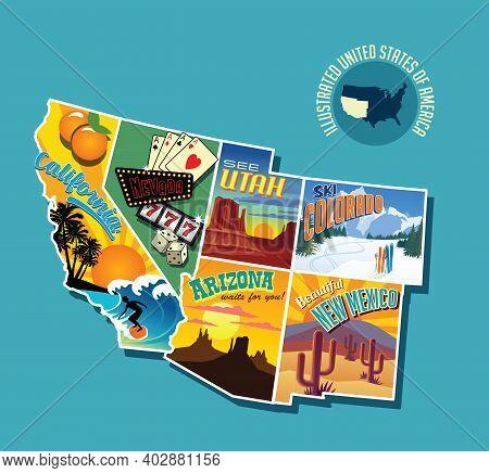 Illustrated Pictorial Map Of Southwest United States. Includes California, Nevada, Utah, Arizona, Ne