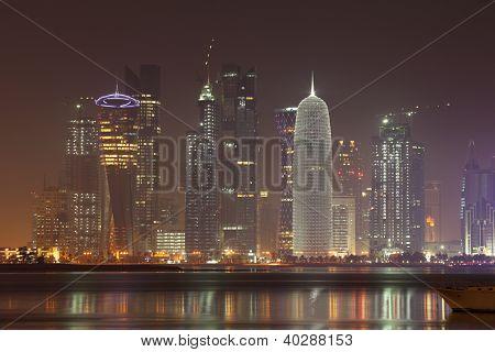 Doha Skyline At Night, Qatar