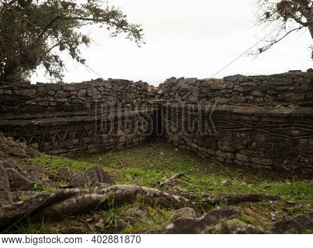 Panorama Of Ancient Citadel City Walls Ruins Kuelap Andes Cloud Archaeology Pre-inca Fortification A