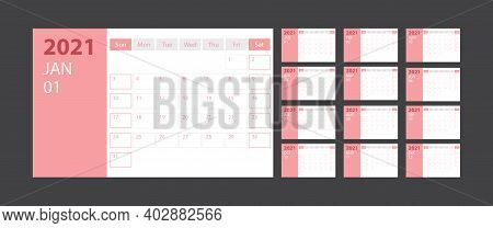Calendar 2021 Week Start Sunday Corporate Design Planner Template With Pink Theme, Stock Vector