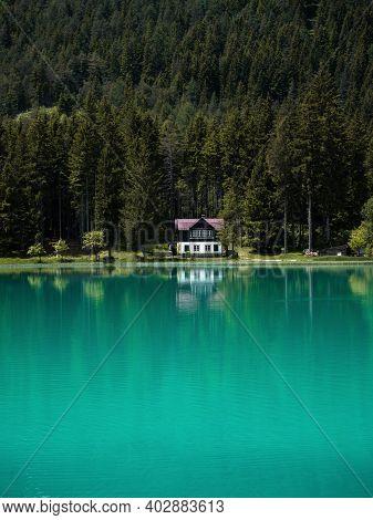 Old Rustic House Bright Blue Turquoise Alpine Mountain Lake Lago Di Dobbiaco Toblacher See Dolomites