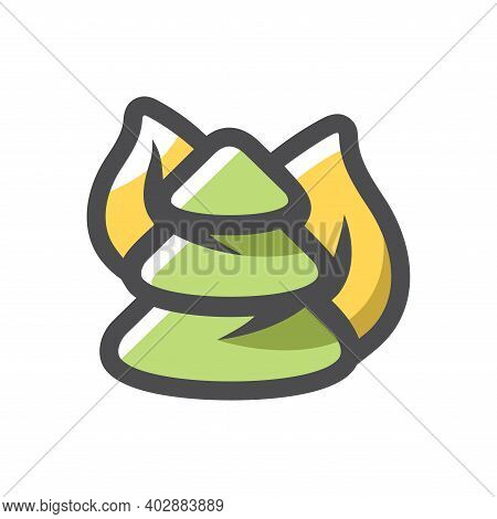 Burning Forest Wildfire Disaster Vector Icon Cartoon Illustration