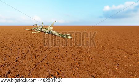 Concept or conceptual desert landscape with a parched tree trunk as a metaphor for global warming and climate change. A warning for the need to protect our environment and future 3d illustration