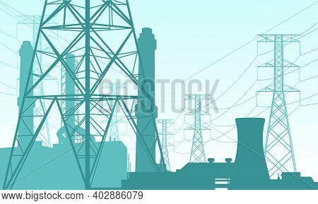 Vector Illustration Of A Power Plant Site. Suitable For Design Elements From Power Companies, Large