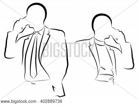 Silhouette Of A Man In A Business Suit Talking On The Phone Vector Illustration