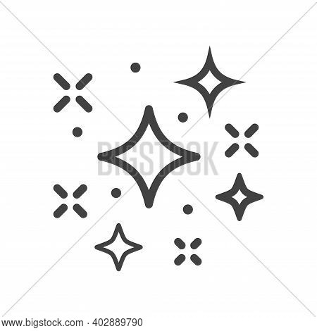 Sparkling And Twinkling Icons In Line Style Vector Illustration. Magic Stars Outline Icon. Bright St