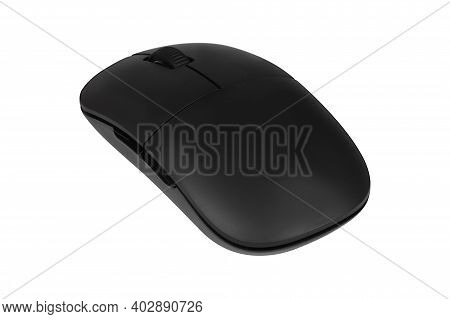 Wireless Optical Computer Mouse Isolated On White Background. Portable Slim Cordless Mouse. Wireless
