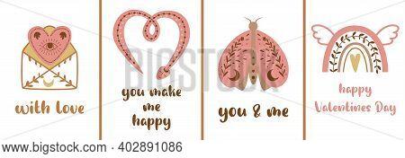 Boho Valentines Cards Set. Bohemian Moon,pink Animals, Moth Rainbow, Heart, Snake, Letter. Love Wedd