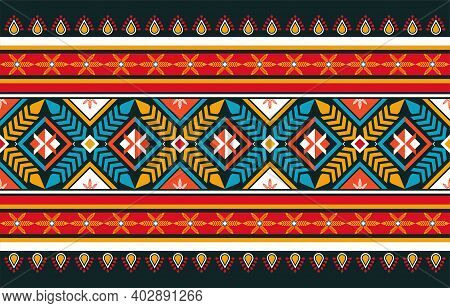 Abstract Orange And Red Geometric Native Pattern Seamless Vector.repeating Geometric Background.mode