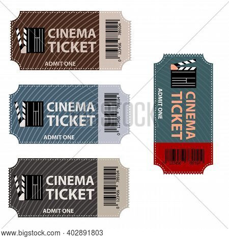 Movie Ticket. Cinema Tickets Isolated. Film Coupon Label. Show, Festival Or Theater Entry Pass On Wh