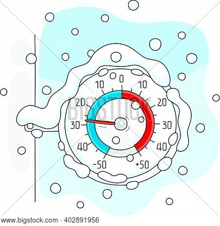 Round Window Thermometer On A Frosty And Snowy Winter Day, Vector Cartoon Illustration On A White Ba